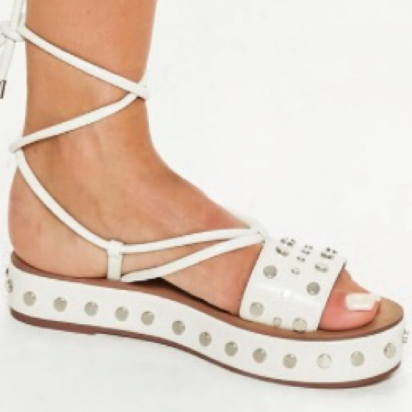 0565771683b Misguided White Platform Studded Sandals Size 7
